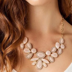 Francesca's Blush Pink Gold Statement Necklace